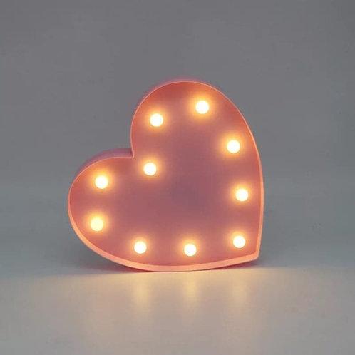 Ροζ φωτιστικό με 10 LED σε σχήμα καρδιάς