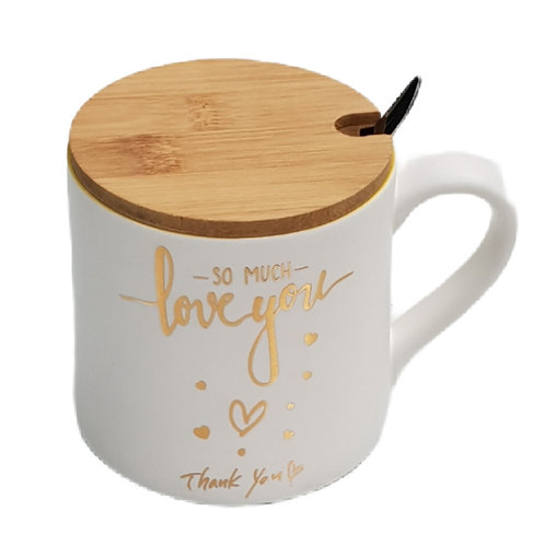 Κεραμική Κούπα με μεταλλικό κουταλάκι και ξύλινο κάλυμμα