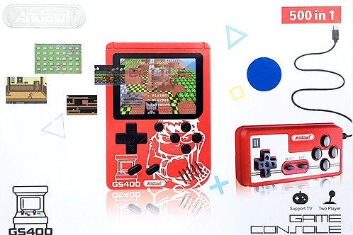 Φορητή Παιχνιδομηχανή με 500 retro παιχνίδια + extra χειριστήριο (μπλε χρώμα)