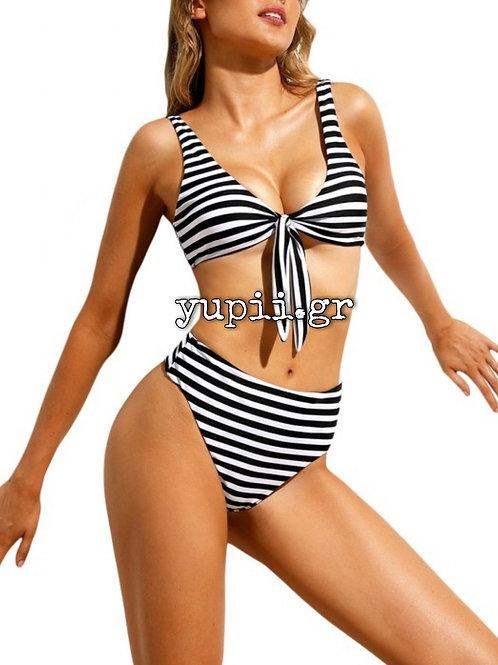 Ασπρόμαυρο ριγέ set bikini με ενίσχυση στο στήθος, one size