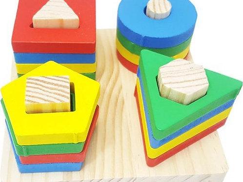 Ξύλινο Παιδικό Παιχνίδι με σχήματα (21 τεμ.)
