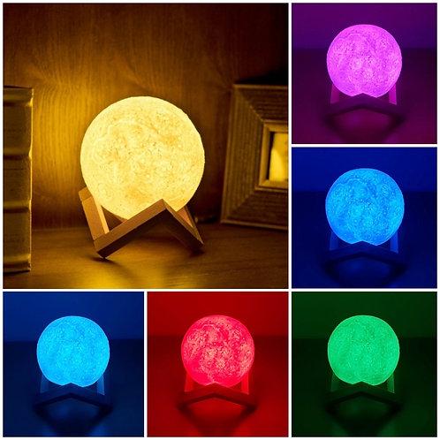 Ανάγλυφο Επαναφορτιζόμενο Φωτιστικό Αφής Φεγγάρι 15cm, πολλαπλών χρωμάτων