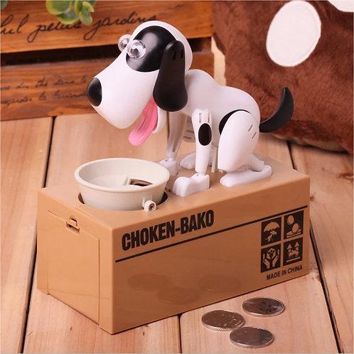 Έξυπνος κουμπαράς πεινασμένο σκυλάκι σε λευκό χρώμα