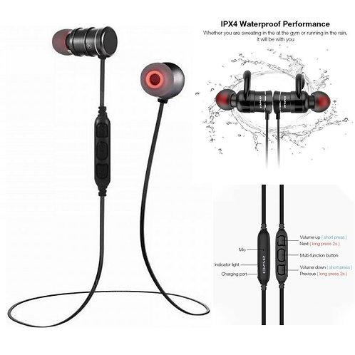 Αδιάβροχα μαγνητικά handsfree ακουστικά Bluetooth (μαύρο χρώμα)