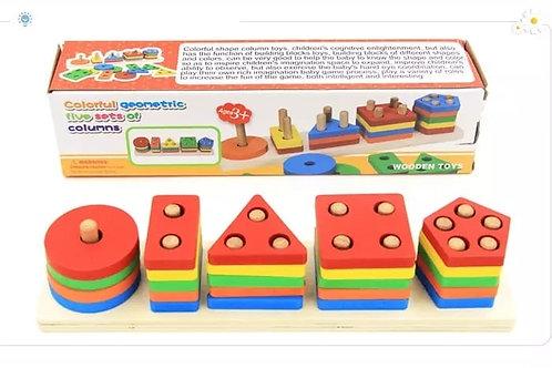 Παιδικό παιχνίδι με 25 πολύχρωμα ξύλινα τουβλάκια