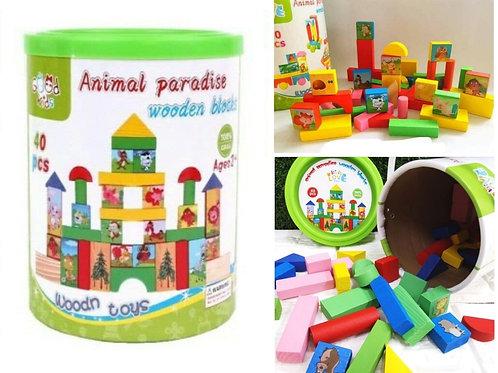 Σετ από 40 Ξύλινα Παιδικά Τουβλάκια με ζωάκια