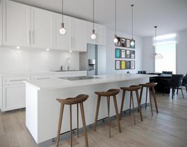 aventura village white kitchen with stoo