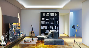 loft family room library and guitar miam