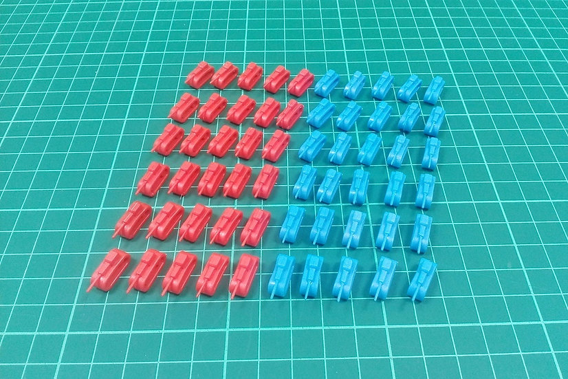 """Tank pieces """"S"""" type - blue/red - PACK: 300"""