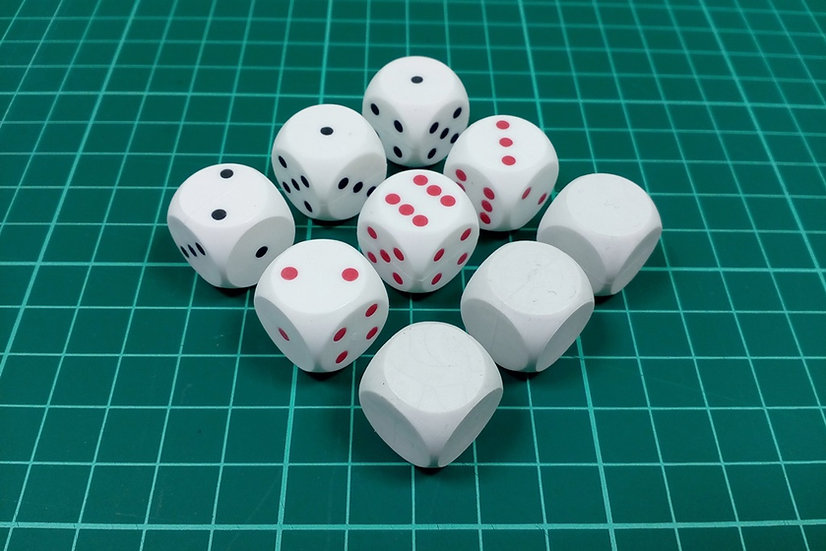 "Dice D6 ""BP"" type - PACK: 9"