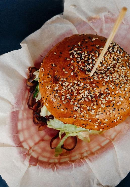Vista superior do hambúrguer