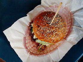 Vista superior de la hamburguesa