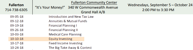 """GWF associate, Julie Bray, will be presenting on Wednesday, October 10, 2018, discussing """"Equity Investing"""" at the Fullerton Community Center."""