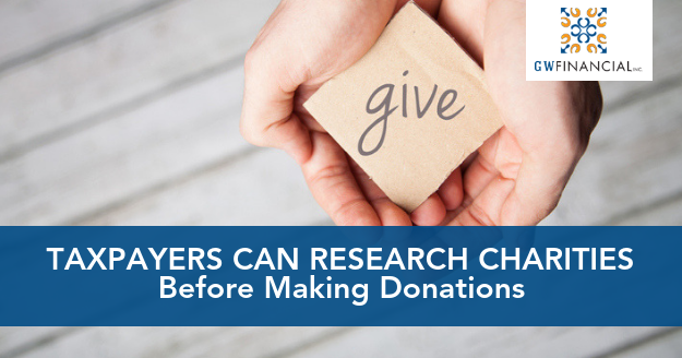 Taxpayers research charities before making donations