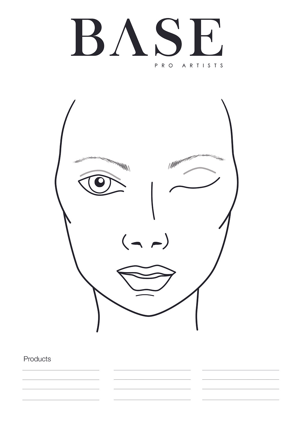 face chart base pro artists