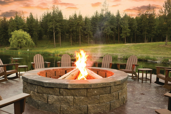 Firepit at Sunset by the Lake