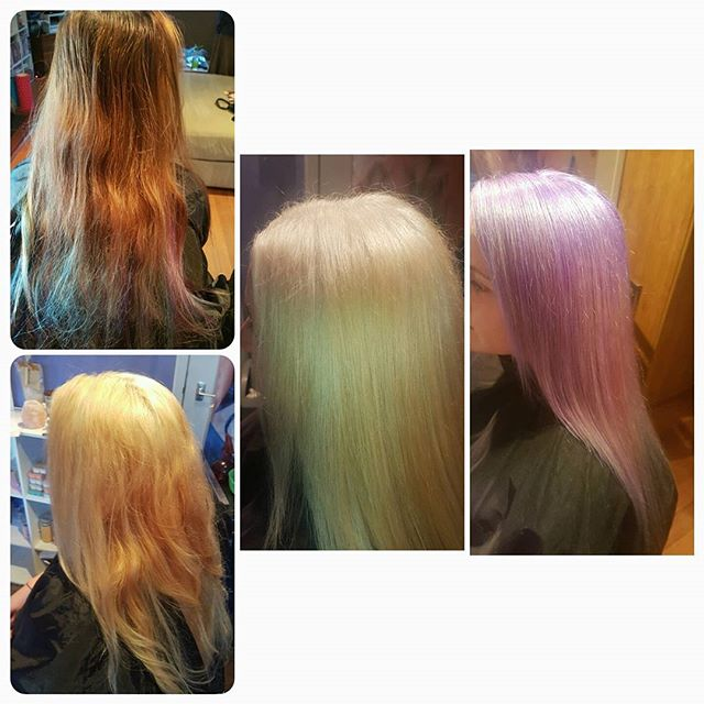 When ur sister wants a change. A whole day process but a fun result! Soft Violet roots smudged into