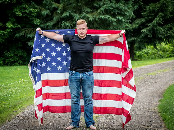 CPT Jordan Henrickson with the world's most traveled flag