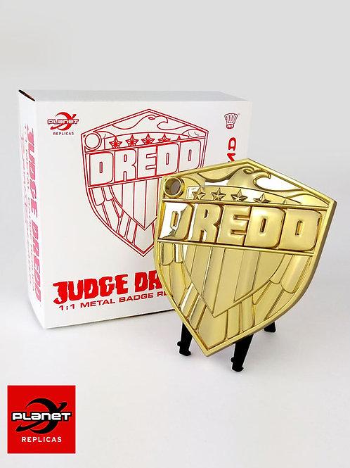 Ltd Edition Gold Plated Bolland Dredd badge- 1:1 metal replica