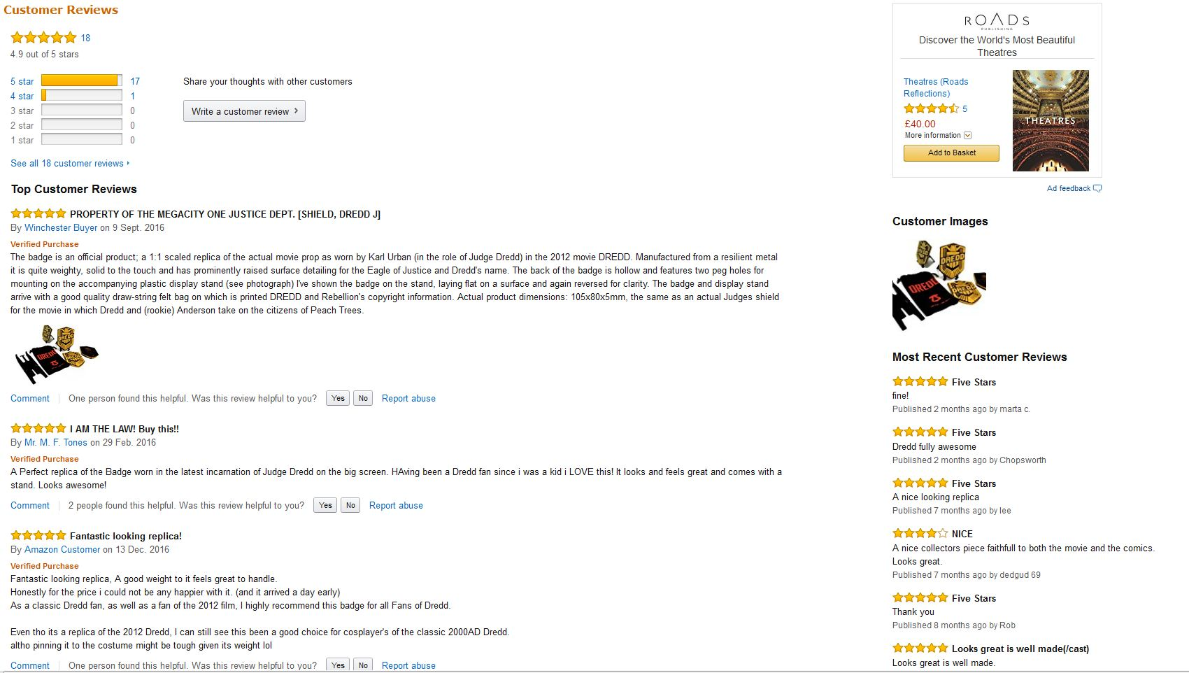 DREDD badge gets 4 9 out of 5 on Amazon reviews | Planet Replicas