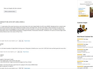 DREDD badge gets 4.9 out of 5 on Amazon reviews