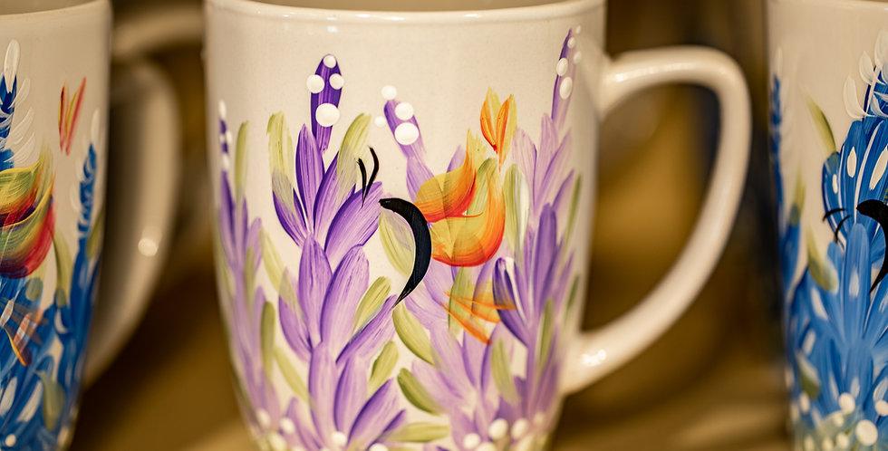 Hand Painted Lavender Coffee Mug