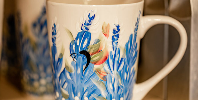 Hand Painted Bluebonnet Coffee Mug