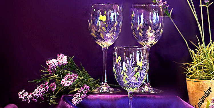 Hand Painted Lavender Wine Glasses