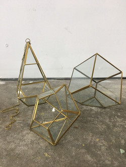 Metal and Glass Geometric pieces