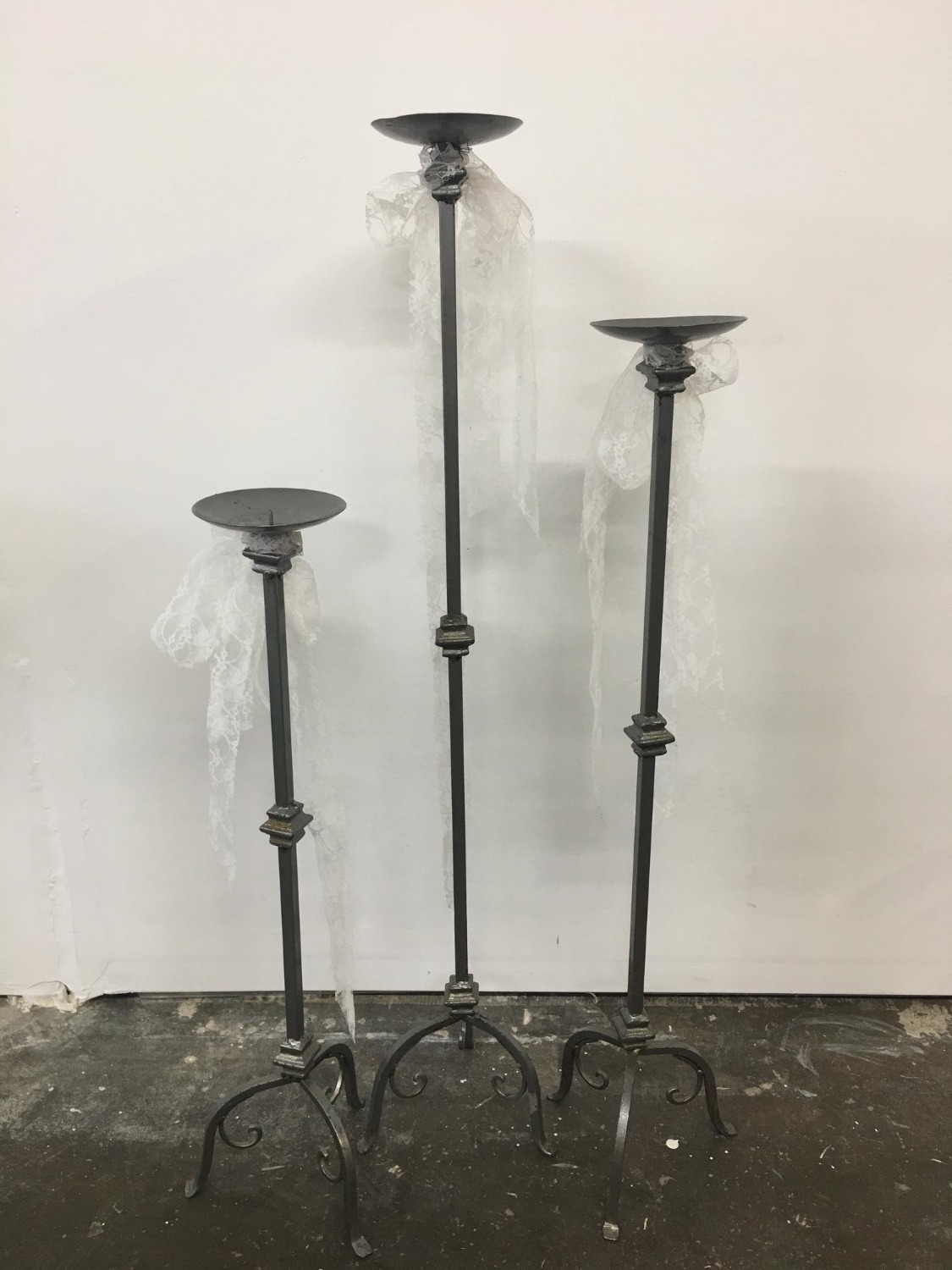 3 Tall Metal Candle Sticks