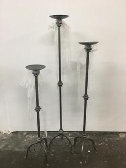 3 Tall Metal Candle Sticks