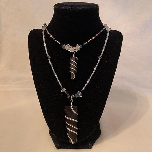 Beaded Shungite Pendant Necklace