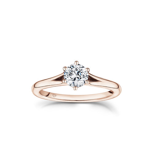 """""""Angela"""" Split Shank Cathedral Solitaire Engagement Ring in Rose Gold"""