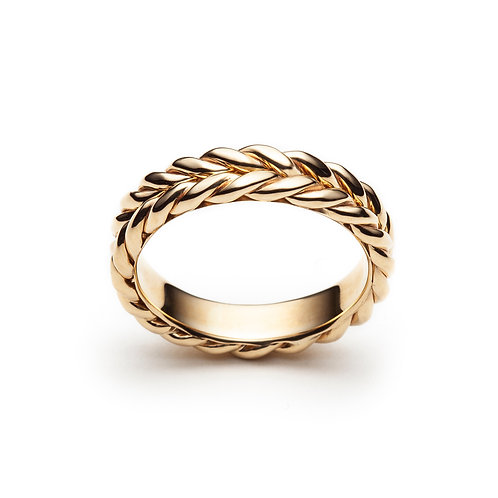 Braided Signature Wedding Band in Yellow Gold