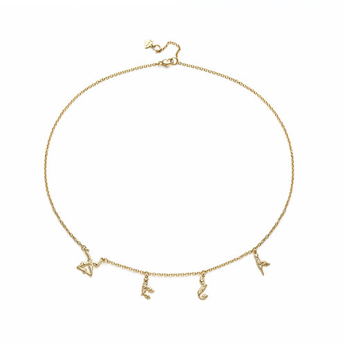 Armenian Four Letters Necklace in Yellow Gold