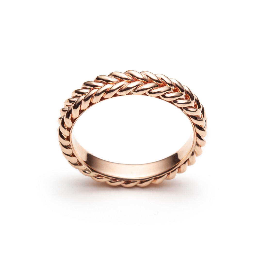 Braided Signature Wedding Band in Rose G