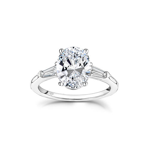 Laura Oval Diamond Side Baguettes Engagement Ring in White Gold