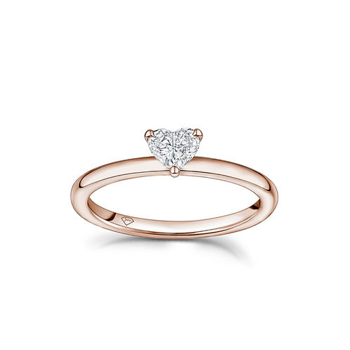 """""""Mery"""" Heart-Shaped Diamond Solitaire Engagement Ring in Rose Gold"""