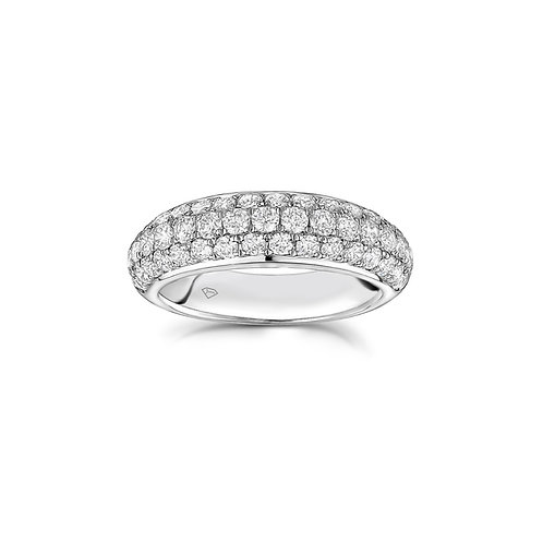 Three-Row Diamond Pavé Tapered Band in White Gold