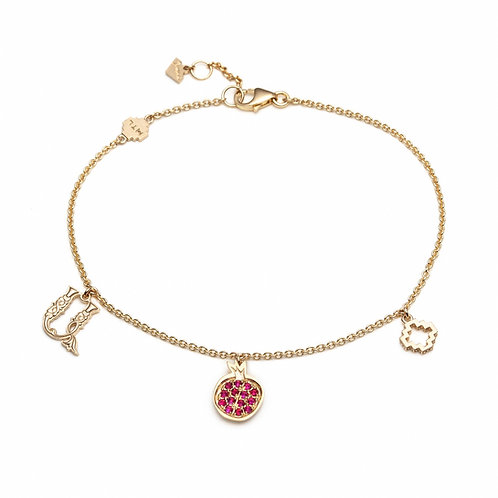 Armenian Letter and Pomegranate Charm Bracelet in Yellow Gold
