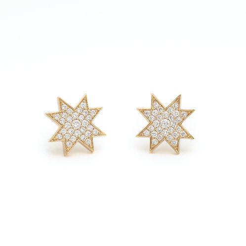 """Asteri"" Diamond Pavé Stud Earrings in Yellow Gold"