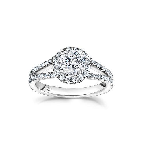 """""""Amanda"""" Round Diamond Split Shank Halo Engagement Ring"""