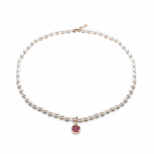 """Pomegranate"" Ruby Charm Pearl Necklace in Yellow Gold"