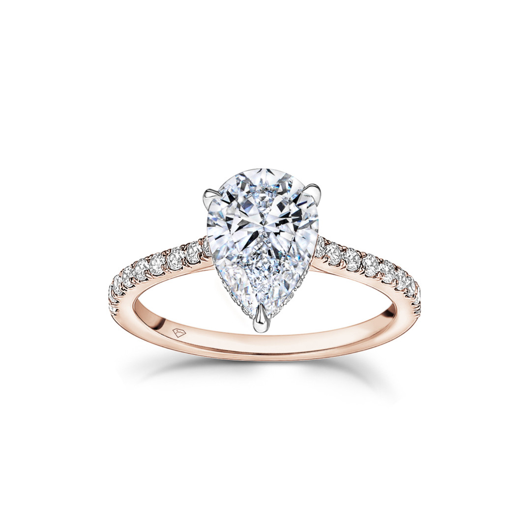 Teresa Pear Shaped Diamond Hidden Halo E