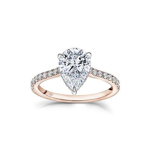 """Teresa"" Pear Shaped Diamond Hidden Halo Engagement Ring"