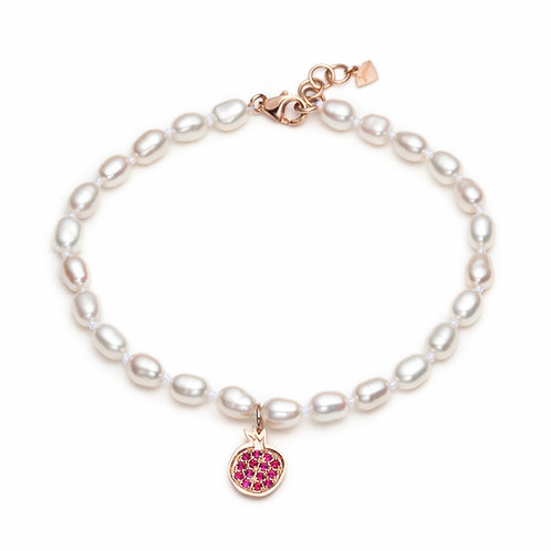 """Pomegranate"" Ruby Charm Pearl Bracelet in Rose Gold"