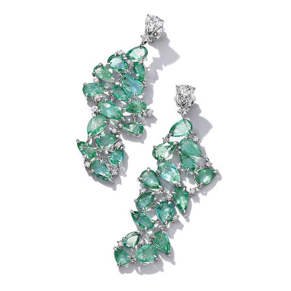 Pear Drops Emerald and Diamond Earrings.