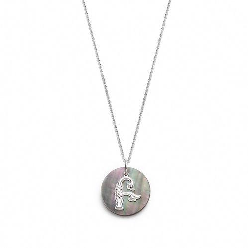 Grey Mother of Pearl Armenian Initial Mini Pendant