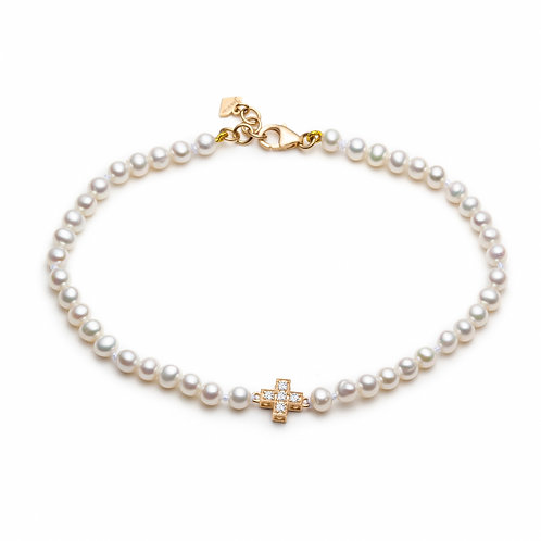 """""""Positive Vibes"""" Diamond, Sapphire and Pearl Reversible Bracelet in Yellow Gold"""