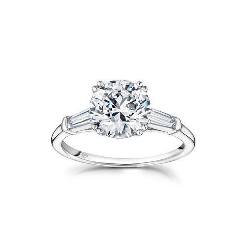"""""""Sylvie"""" Round Diamond Side Baguettes Engagement Ring in White Gold"""